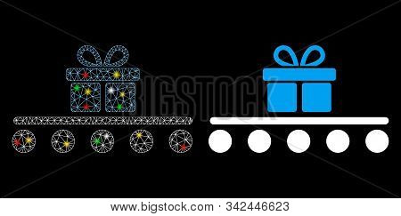 Glossy Mesh Baggage Transportation Icon With Glare Effect. Abstract Illuminated Model Of Baggage Tra
