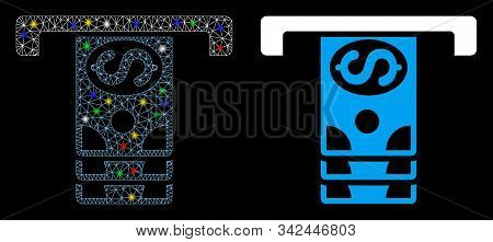 Glowing Mesh Banknotes Withdraw Icon With Glow Effect. Abstract Illuminated Model Of Banknotes Withd