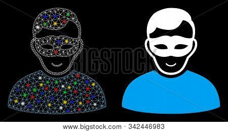 Glowing Mesh Anonymous Person Icon With Glare Effect. Abstract Illuminated Model Of Anonymous Person
