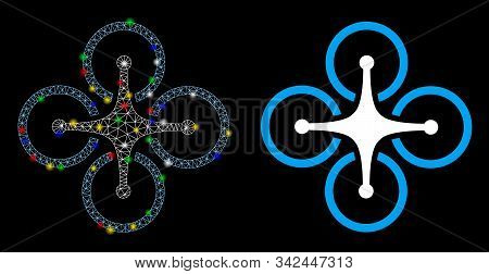 Bright Mesh Quadrocopter Icon With Glare Effect. Abstract Illuminated Model Of Quadrocopter. Shiny W