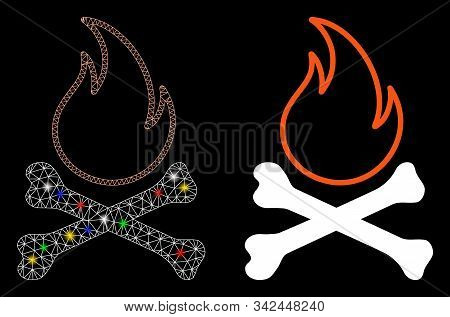 Glossy Mesh Bones Hell Fire Icon With Glare Effect. Abstract Illuminated Model Of Bones Hell Fire. S