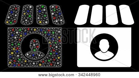 Bright Mesh Shop Seller Icon With Glow Effect. Abstract Illuminated Model Of Shop Seller. Shiny Wire