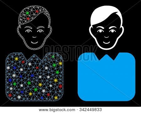 Glossy Mesh Bureaucrat Icon With Glare Effect. Abstract Illuminated Model Of Bureaucrat. Shiny Wire