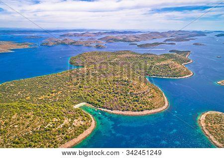 Amazing Kornati Islands National Park Archipelago Aerial View, Landscape Of Dalmatia, Croatia