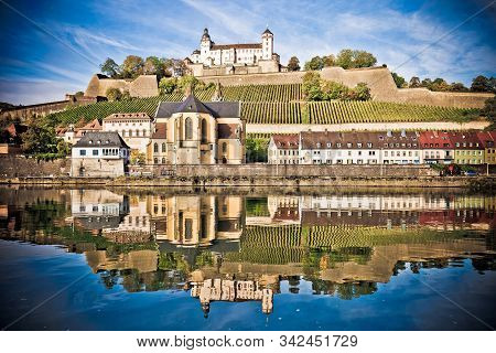 Wurzburg. Main River Waterfront And Scenic Wurzburg Castle And Vineyards Reflection View, Bavaria Re
