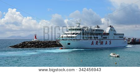 Playa Blanca, Lanzarote, Spain - March 26, 2019: Canary Island Ferry  That Sail From Playa Blanca La