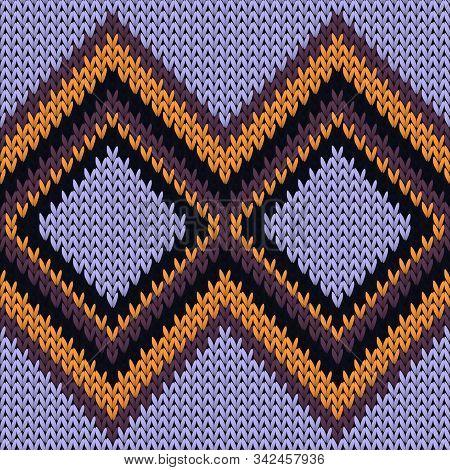 Stylish Rhombus Argyle Christmas Knit Geometric Seamless Pattern. Carpet Stockinet Ornament. Norwegi