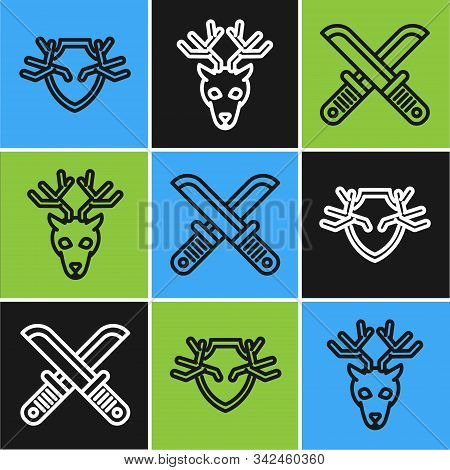Set Line Deer Antlers On Shield, Crossed Hunter Knife And Deer Head With Antlers Icon. Vector