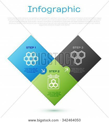 Set Line Honeycomb, Honeycomb, Hanging Sign With Honeycomb And Honeycomb. Business Infographic Templ