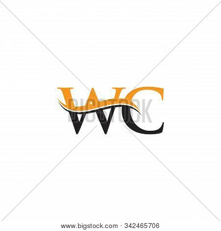 Initial Wc Letter Linked Logo. Creative Letter Wc Logo Vector With Blue And Grey Colors. Wc Logo Des