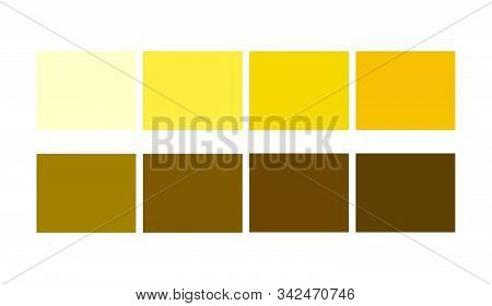 Yellow Color Template Collection Shade And Ligths Palette For Cartoon Design. Template To Pick Color