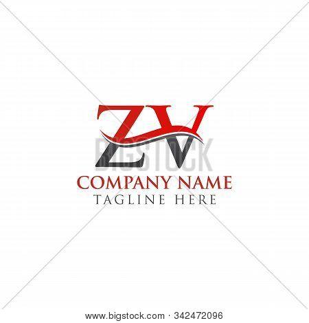 Initial Zv Letter Linked Logo Vector Template. Creative Letter Zv Logo Vector.
