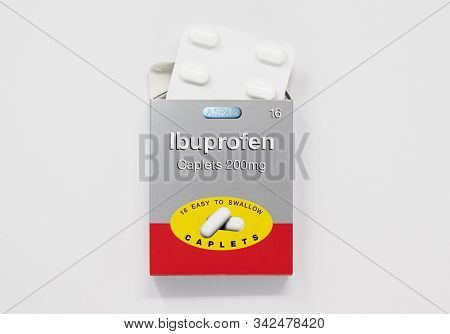 London / Uk - December 29th 2019 - Packet Of Ibuprofen Painkillers And Blister Pack, 200mg From Aspa