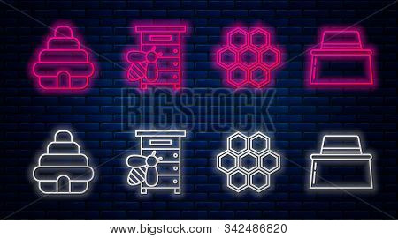 Set Line Hive For Bees, Honeycomb, Hive For Bees And Beekeeper With Protect Hat. Glowing Neon Icon O