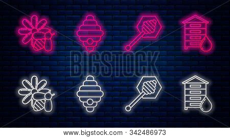 Set Line Hive For Bees, Honey Dipper Stick, Bee And Flower And Hive For Bees. Glowing Neon Icon On B
