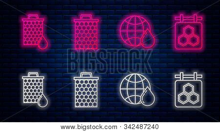 Set Line Honeycomb, Honeycomb Map Of The World, Honeycomb And Hanging Sign With Honeycomb. Glowing N
