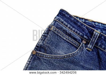 Denim Blue Jeans Fabric With Bag. Ripped Denim Blue Cloth Background, Text Place, Copy Space. Destro