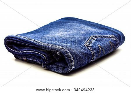 Denim Jeans Texture Or Denim Jeans Background With Old Torn. Old Grunge Vintage Denim Jeans. Fade Te