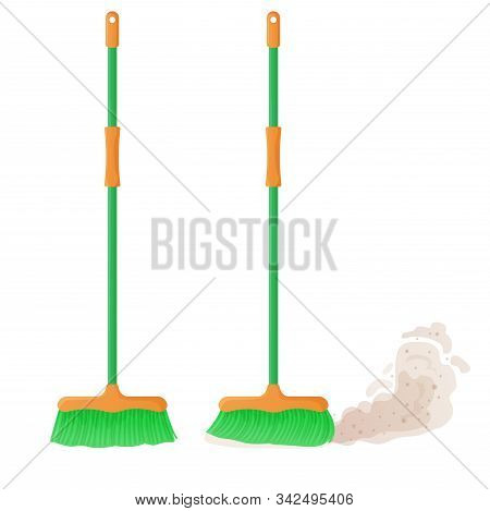 Cartoon Plastic Broom Set. A Broom Sweeps Dust And Dirt. Housework, Cleaning Services, Household, Co
