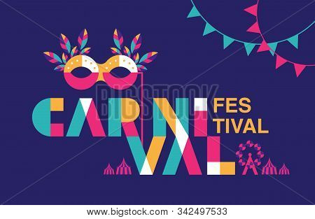 Carnival Typography, Popular Event In Brazil. Festival, Colorful Party Elements ,carnaval, Travel De