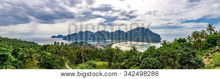 Panoramic View Of Phi Phi Island From View Point 2. Phi Phi Pier, Loh Dalum Beach, Ao Tonsai Beach A