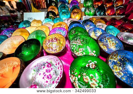 Traditional Colorful Bowls Put On Display For Sale At Krabi Walking Street In Krabi Town, Thailand.