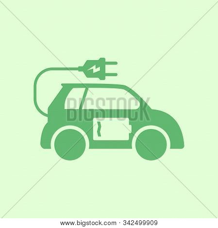 Electric Car Icon, Electric Car Vector, Electric Car Design, Electric Car With Battery And Electric
