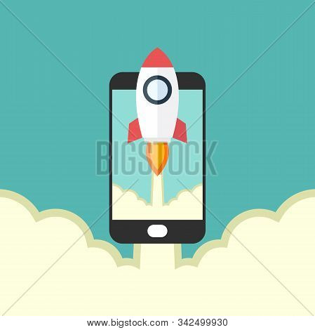 Rocket Launches And Smart Phone Flat, Rocket Launches And Smart Phone Design, Rocket Launches And Sm