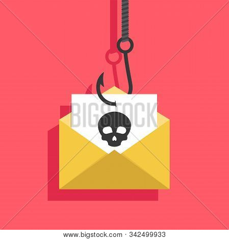 Phishing Flat, Phishing Design, Phishing Vector, Phishing Illustration, Internet Crime Phishing Via