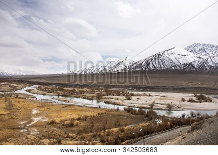 Viewpoint Landscape Of Hight Range Mountain With Confluence Of The Indus And Zanskar Rivers On Srina