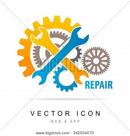 Wrench And Gear Icon. Mechanic Service And Mechanics, Service Tools Icon, Service Icon. Manufacturin