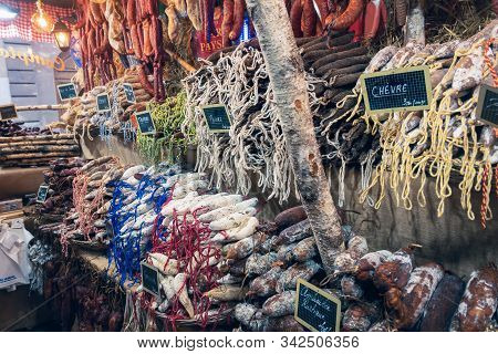 Strasbourg, France - 06.10.2019 .close Up Traditional Salami Food Store. Meat Sausages Food. Street
