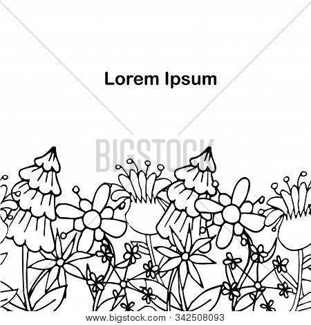 Floral Monochrome Background, Lorem Ipsum Hand Drawn Background Ink Graphic Art Design Elements Stoc