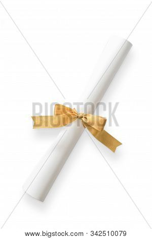 Diploma, Degree Certificate Roll Isolated On White Background With Clipping Path, Template For Study