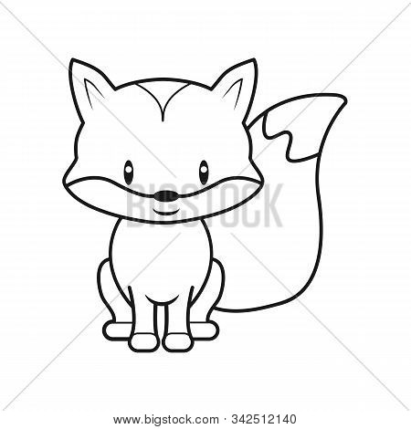 Empty Outline Of A Cute Childish Cartoon Fox. Isolated Contour For Coloring. Stock Vector Illustrati