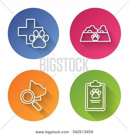Set Line Veterinary Clinic Symbol, Pet Food Bowl For Cat Or Dog, Veterinary Clinic Symbol And Clipbo