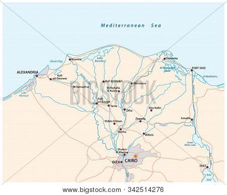 Map Of The Nile River Delta In Upper Egypt