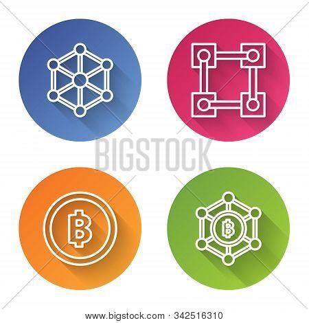 Set Line Blockchain Technology, Blockchain Technology, Cryptocurrency Coin Bitcoin And Blockchain Te