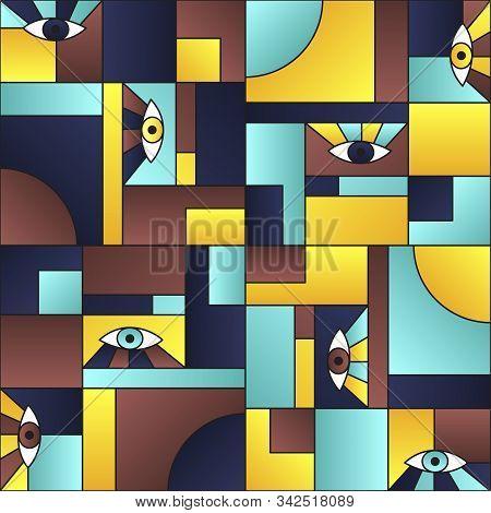 Minimal pattern with eyes in geometric shapes grid mondrian avant garde fashion textile print. Modern background design. Open eyes bauhaus geometric seamless pattern. Interior vector design. poster