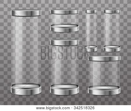 Empty Cylinder Capsule, Clear Showcase Isolated On Transparent Background. Vector Mockup Of Round Bo