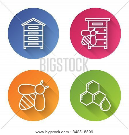 Set Line Hive For Bees, Hive For Bees, Bee And Honeycomb. Color Circle Button. Vector