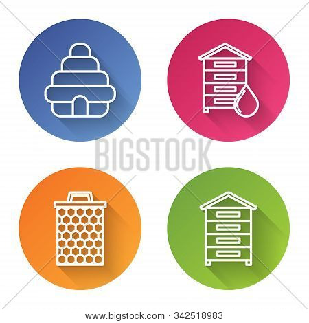 Set Line Hive For Bees, Hive For Bees, Honeycomb And Hive For Bees. Color Circle Button. Vector