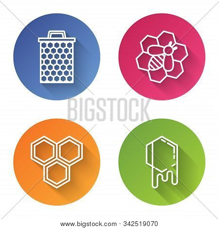 Set Line Honeycomb, Bee And Honeycomb, Honeycomb And Honeycomb. Color Circle Button. Vector