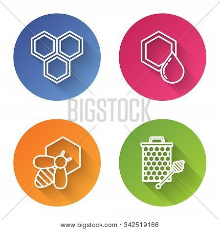 Set Line Honeycomb, Honeycomb, Bee And Honeycomb And Honeycomb With Honey Dipper Stickicon. Color Ci
