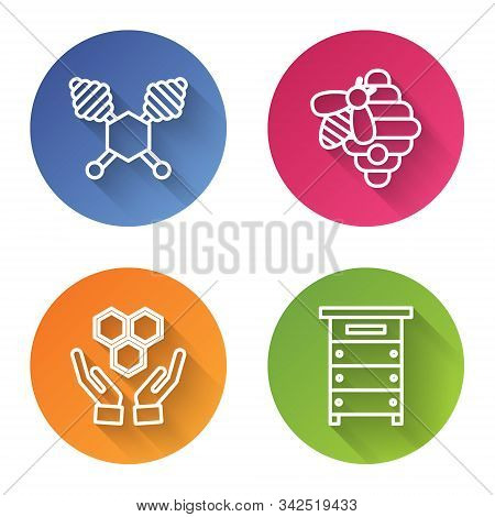 Set Line Honey Dipper Stick, Hive For Bees, Honeycomb And Hands And Hive For Bees. Color Circle Butt