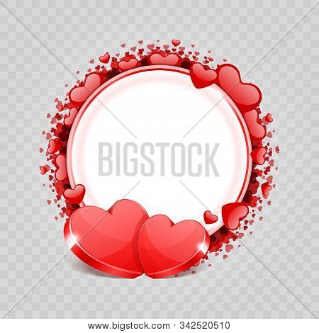 Two Red Shiny Hearts Shapes Isolated On Transparency Background Vector Illustration