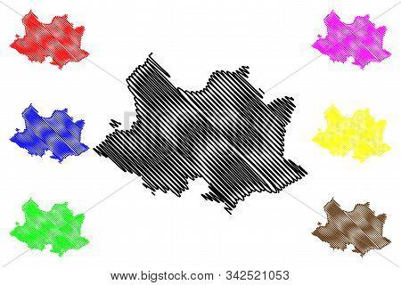 Montevideo Department (departments Of Uruguay, Oriental Republic Of Uruguay) Map Vector Illustration