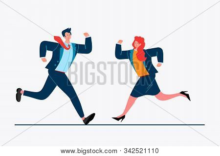 Business Colleagues Running To Each Other. Couple, Partners, Competitors Flat Vector Illustration. B