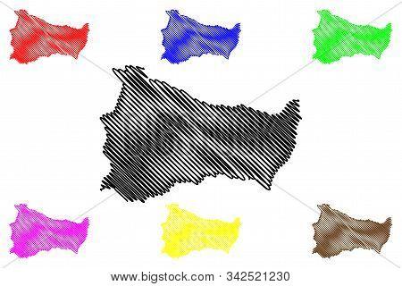 Paysandu Department (departments Of Uruguay, Oriental Republic Of Uruguay) Map Vector Illustration,