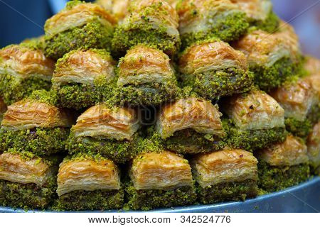 Turkish Baklava With Pistachios.  Traditional Turkish Dessert. Traditional Turkish Dessert Of Ramada